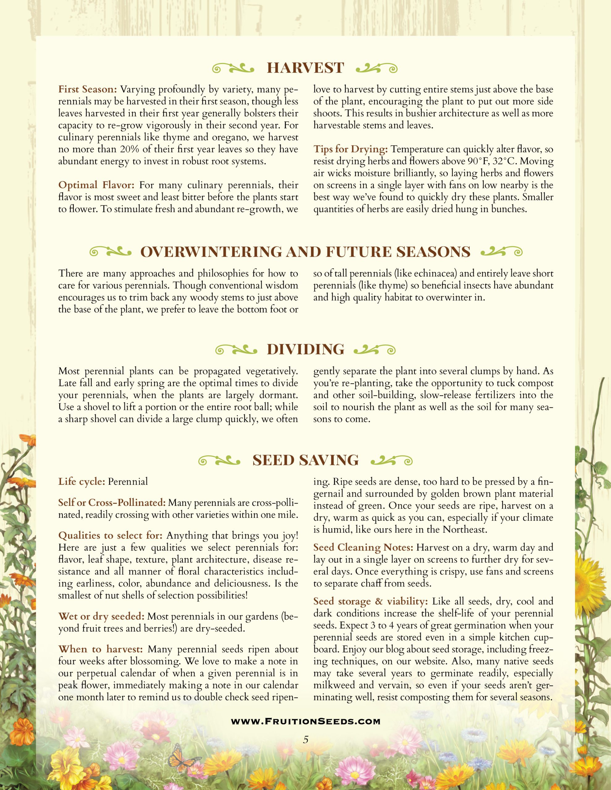 Growing Guide for Perennial Herbs and Flowers  Seedkeeping Guide